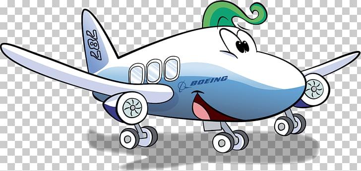 Airplane Wing Boeing 787 Dreamliner Animated cartoon.