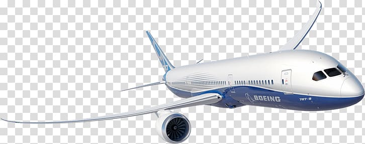 White and blue Boeing airliner, Boeing 787 transparent.