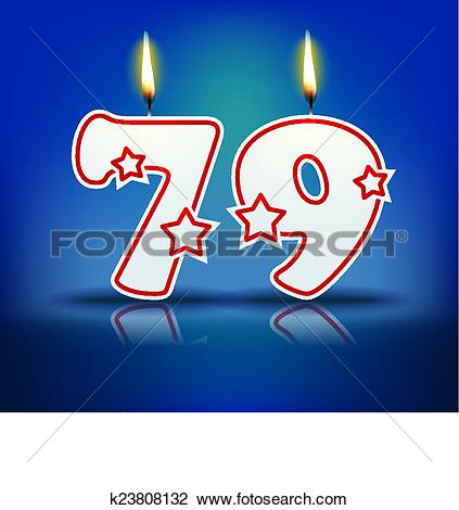 Clipart of Birthday candle number 79 k23808132.