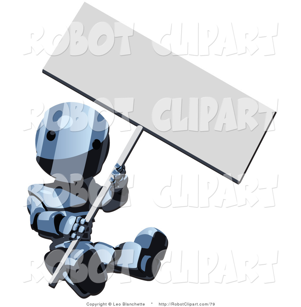 Clipart of a Blue Metal Robot Sign Dancer Sitting with a Sign by.