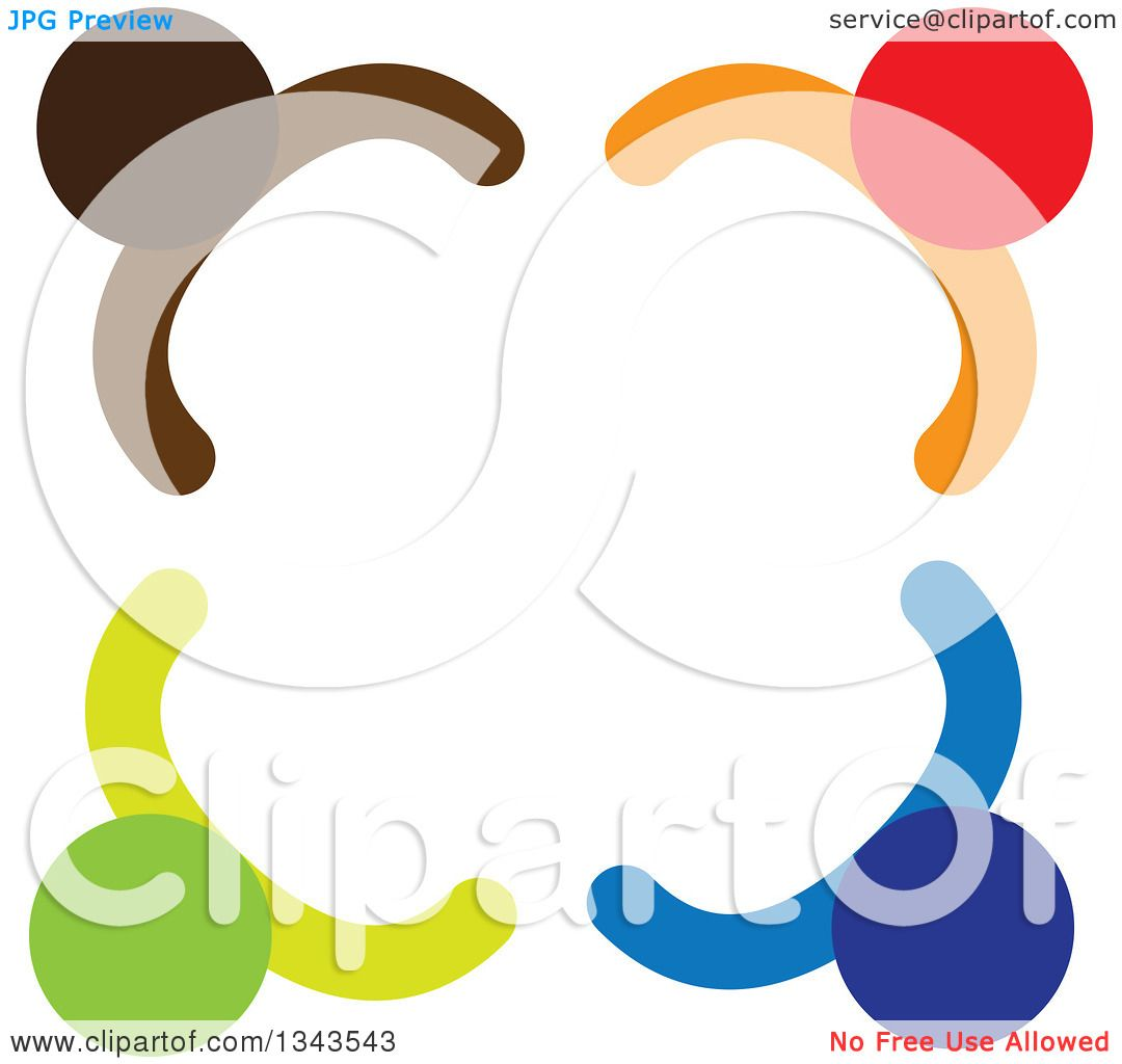 Clipart of a Teamwork Unity Circle of Colorful People 79.