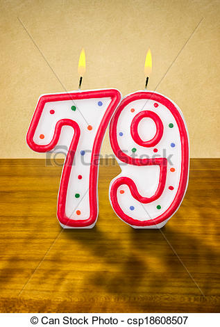Stock Illustration of Burning birthday candles number 79.