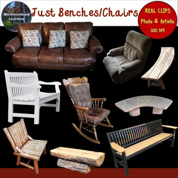 Benches & Chairs Furniture Clip Art Photo & Artistic Digital Stickers.