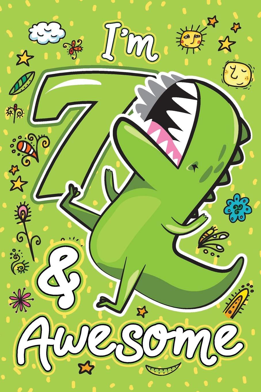 I\'m 7 & Awesome: Happy 7th Birthday Cute Dinosaur Sketch.