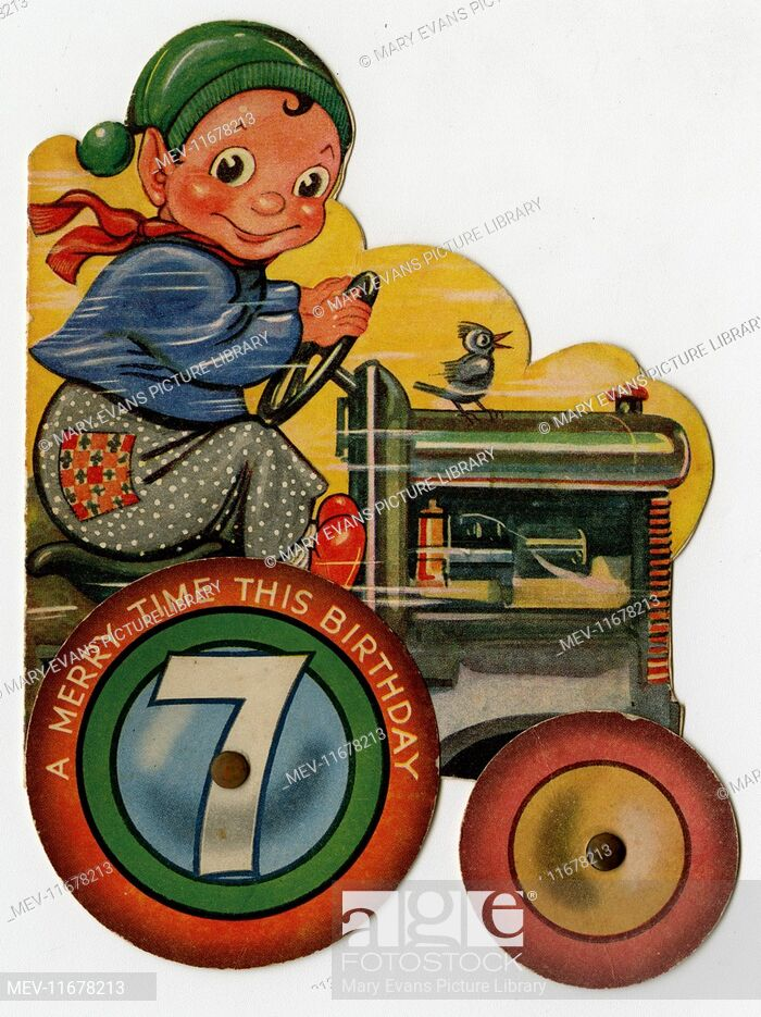 7th birthday card, boy on a tractor, Stock Photo, Picture.