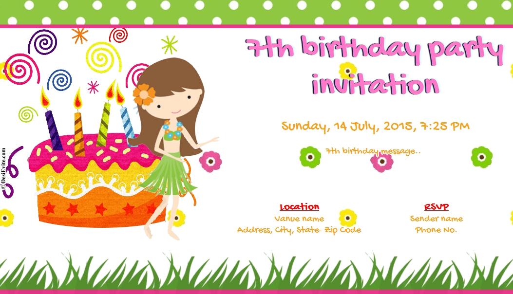 7th Birthday Party Invitation.