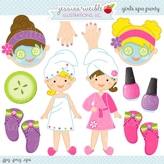 Girls Spa Party Cute Digital Clipart, Commercial Use OK, Spa.