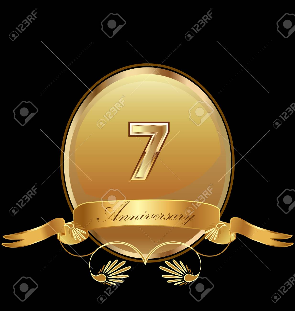 7th golden anniversary seal icon vector.