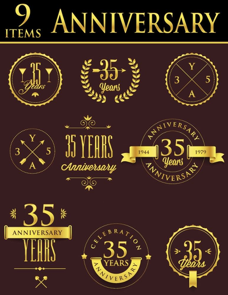 Anniversary Badge Set, Create Custom Anniversary Seals, Faux.