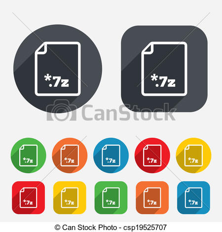 Vector Clipart of Archive file icon. Download 7z button..