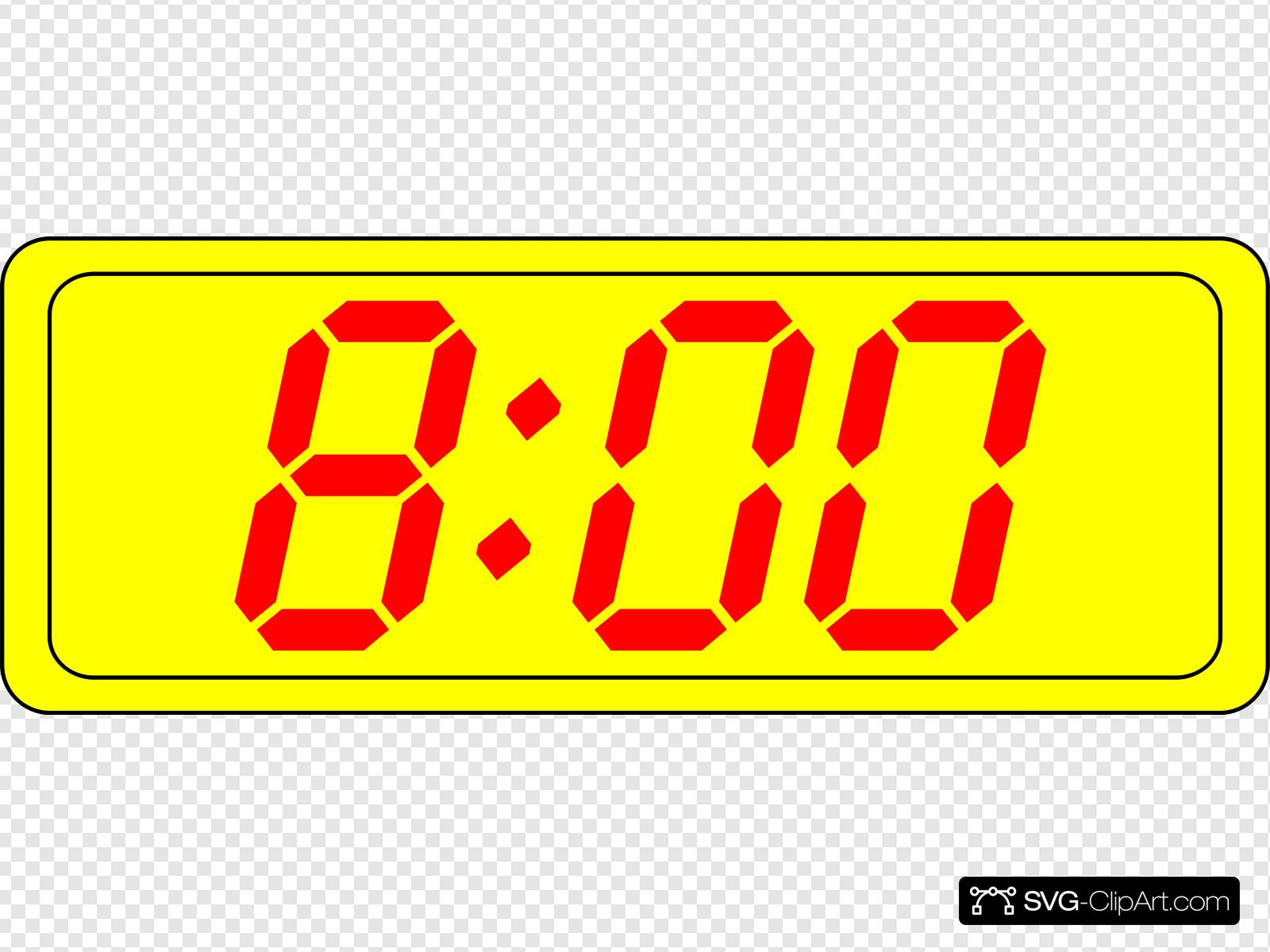 Digital Clock 8:00 Clip art, Icon and SVG.
