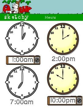 Analog and Digital Clocks by the Hour.