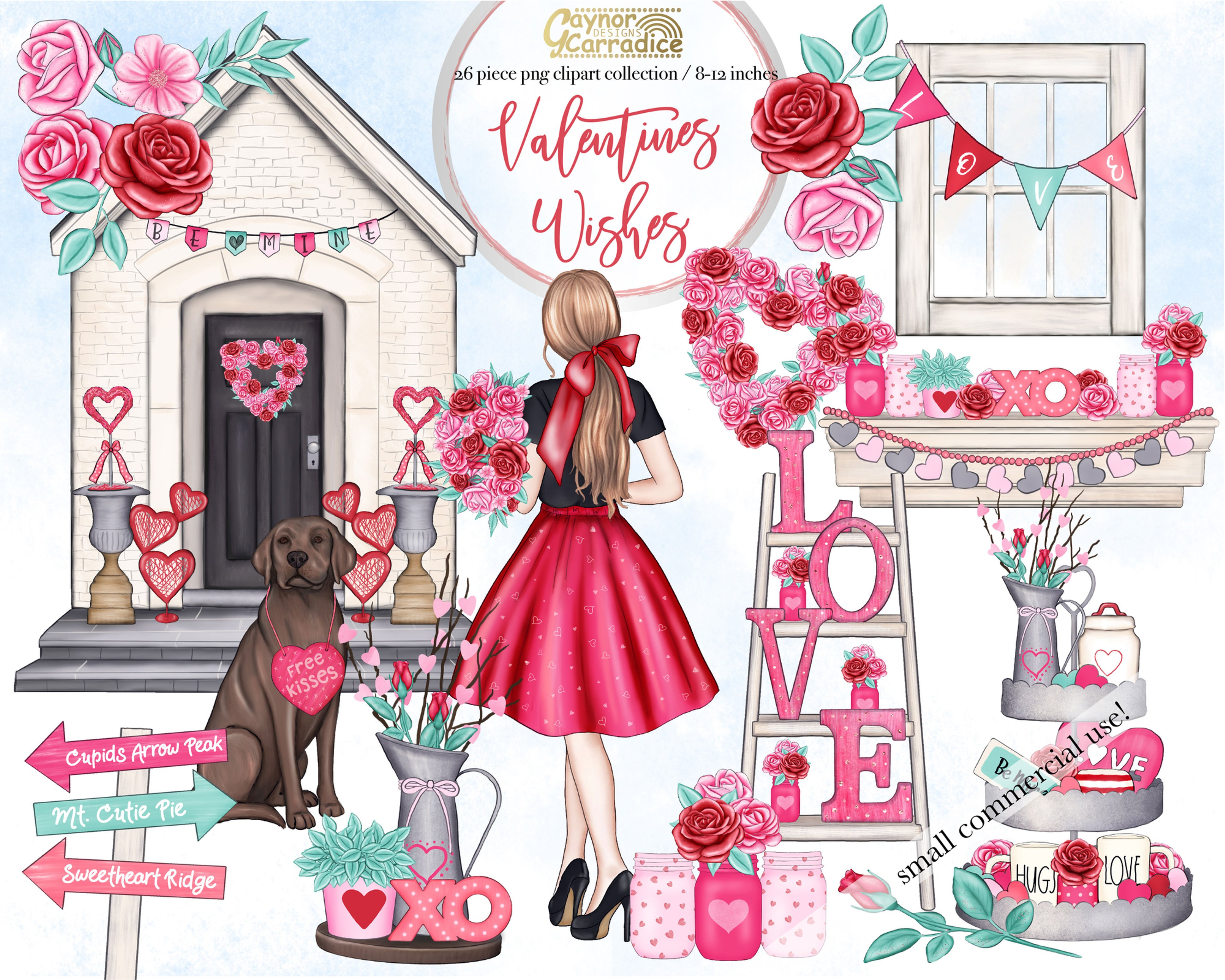 Valentines wishes watercolor clipart.