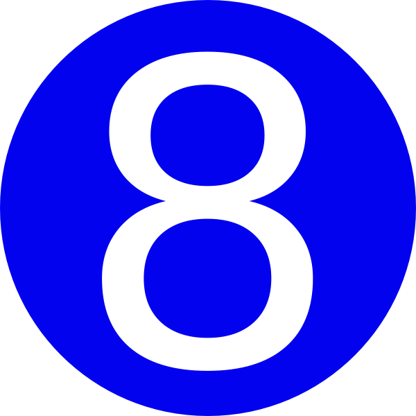 Blue, Rounded,with Number 8 Clip Art at Clipart library.