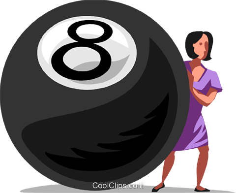 Businesswoman behind the eight ball Royalty Free Vector Clip Art.
