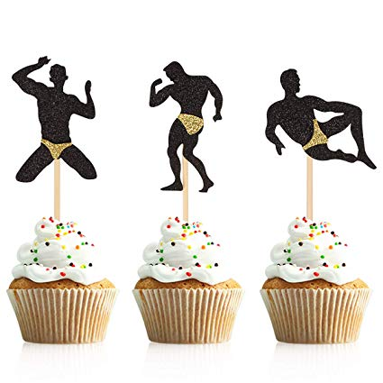 Donoter 36 Pcs Male Dancers Strippers Cupcake Toppers Bachelorette Cupcake  Picks Hen Party Decoration Supplies.
