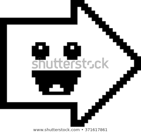 Illustration Arrow Smiling 8 Bit Cartoon Style Stock Vector.