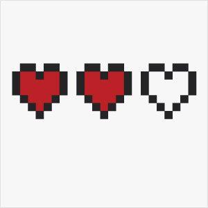 8bit Temporary Tattoo Zelda Heart Meter One Empty.