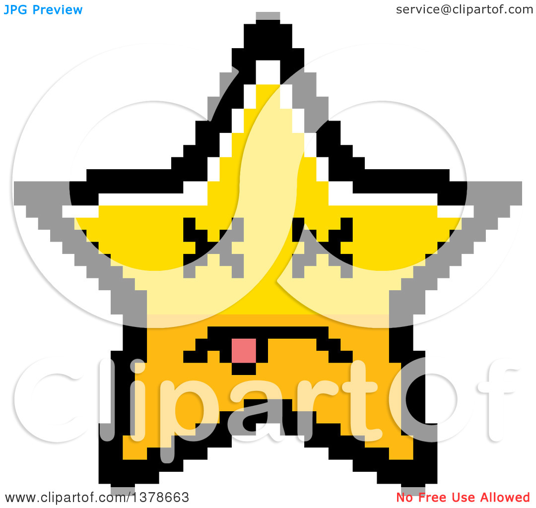 Clipart of a Dead Star Character in 8 Bit Style.