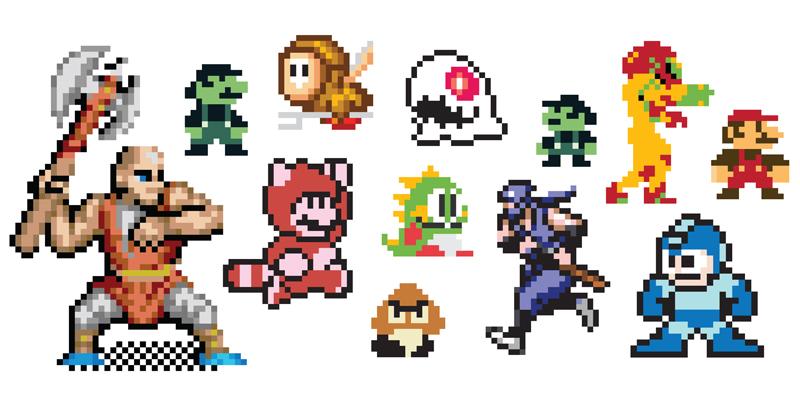 Mario 8 bit clipart.