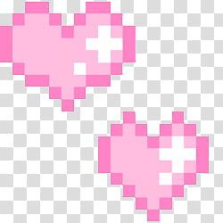 PASTEL PIXELS IV, two heart pink pixelated transparent.
