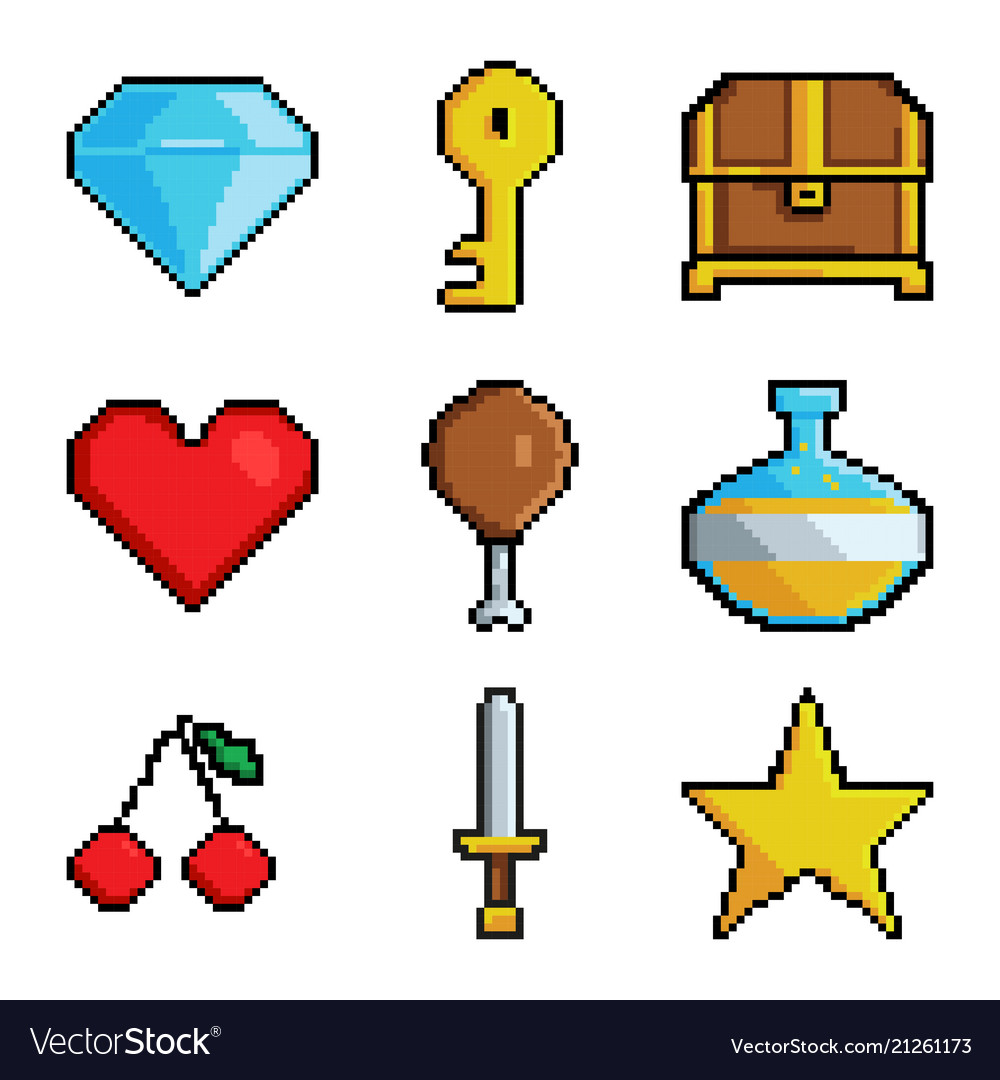 Pixel graphic game objects 8 bit style pictures.