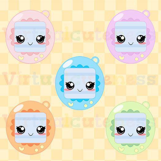 Kawaii Virtual Pet Clip Art.