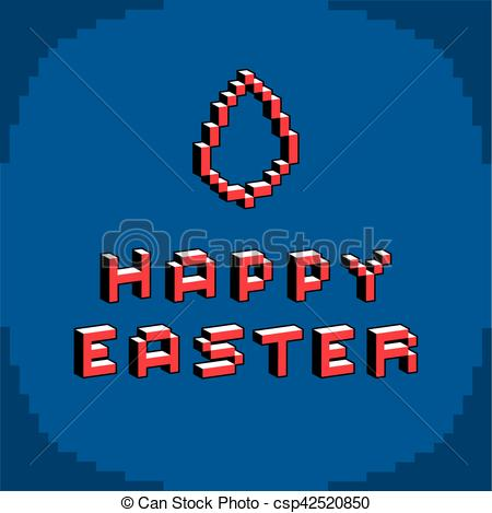 Clipart Vector of Happy Easter phrase created in digital.
