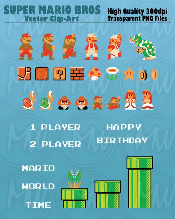 Super Mario Bros, Clipart, Mario, Pixels, 8.