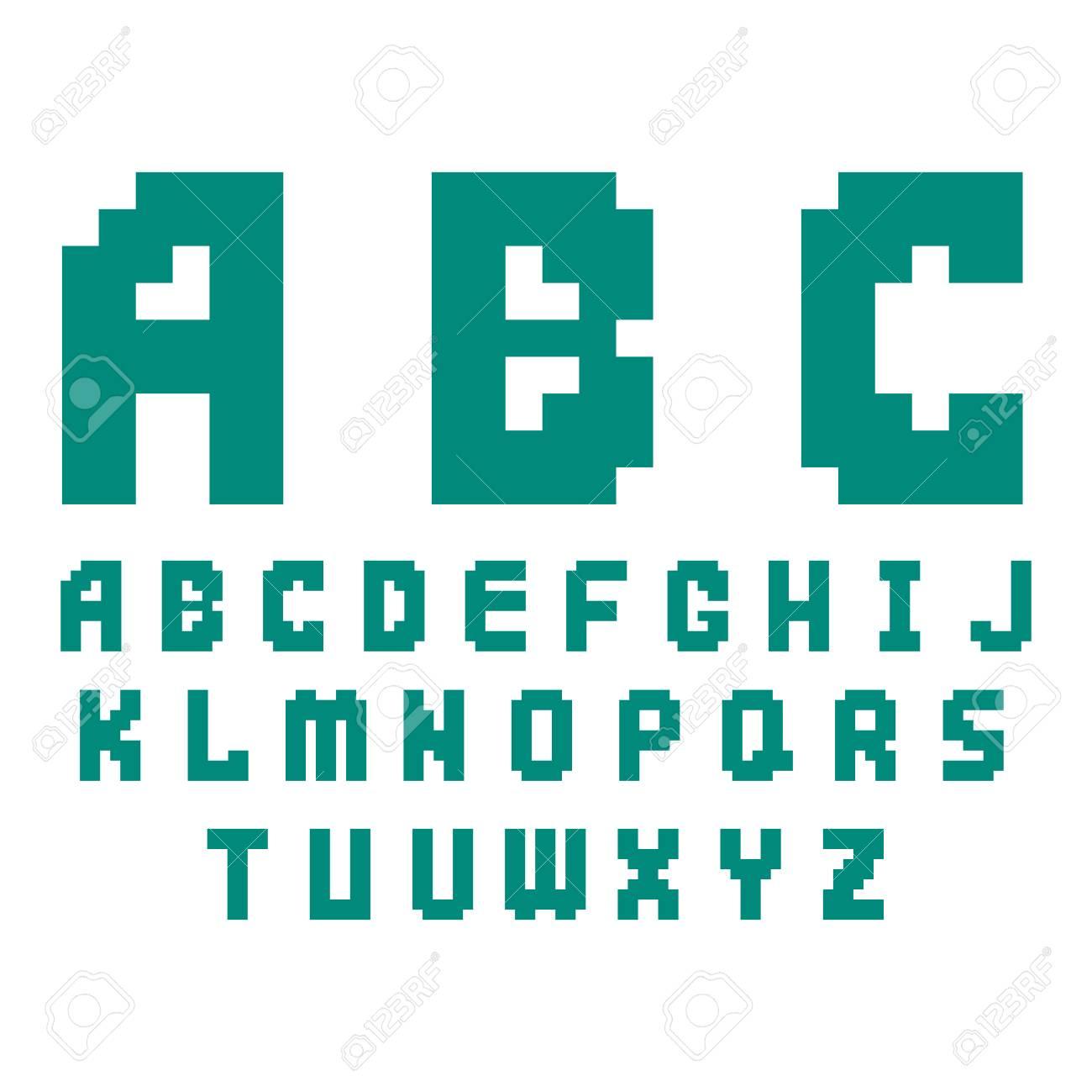 Pixel Retro Font Video Computer Game Design 8 Bit Letters Electronic.