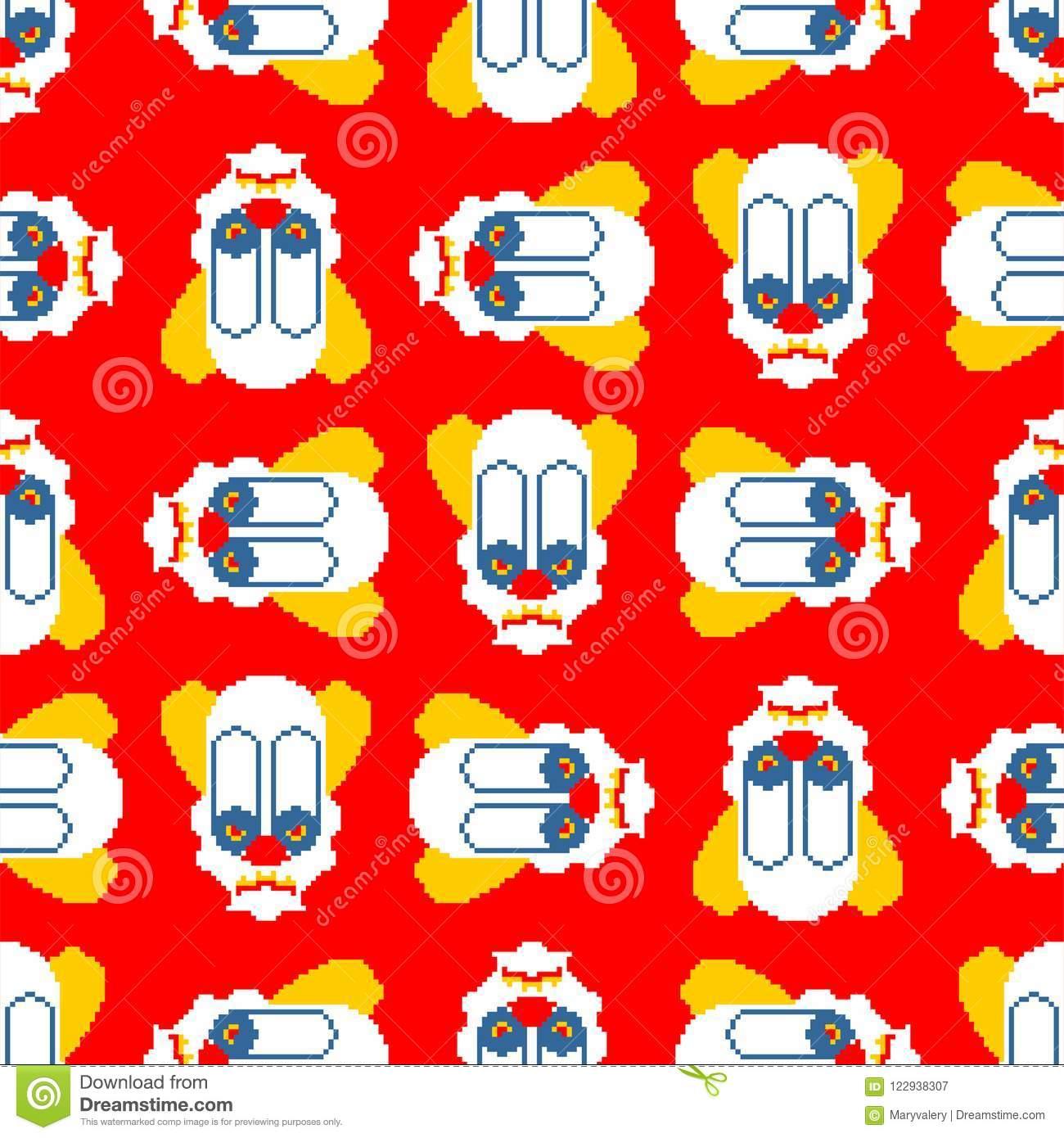 Scary Clown Pixel Art Pattern. 8 Bit Background. Digital Nightmare.
