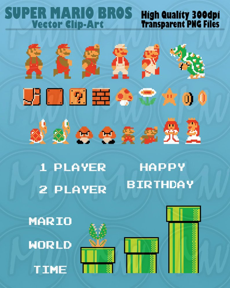 Super Mario Bros Clipart Mario Pixels 8.