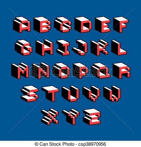 Clipart Vector of Vector modern tech alphabet letters set.