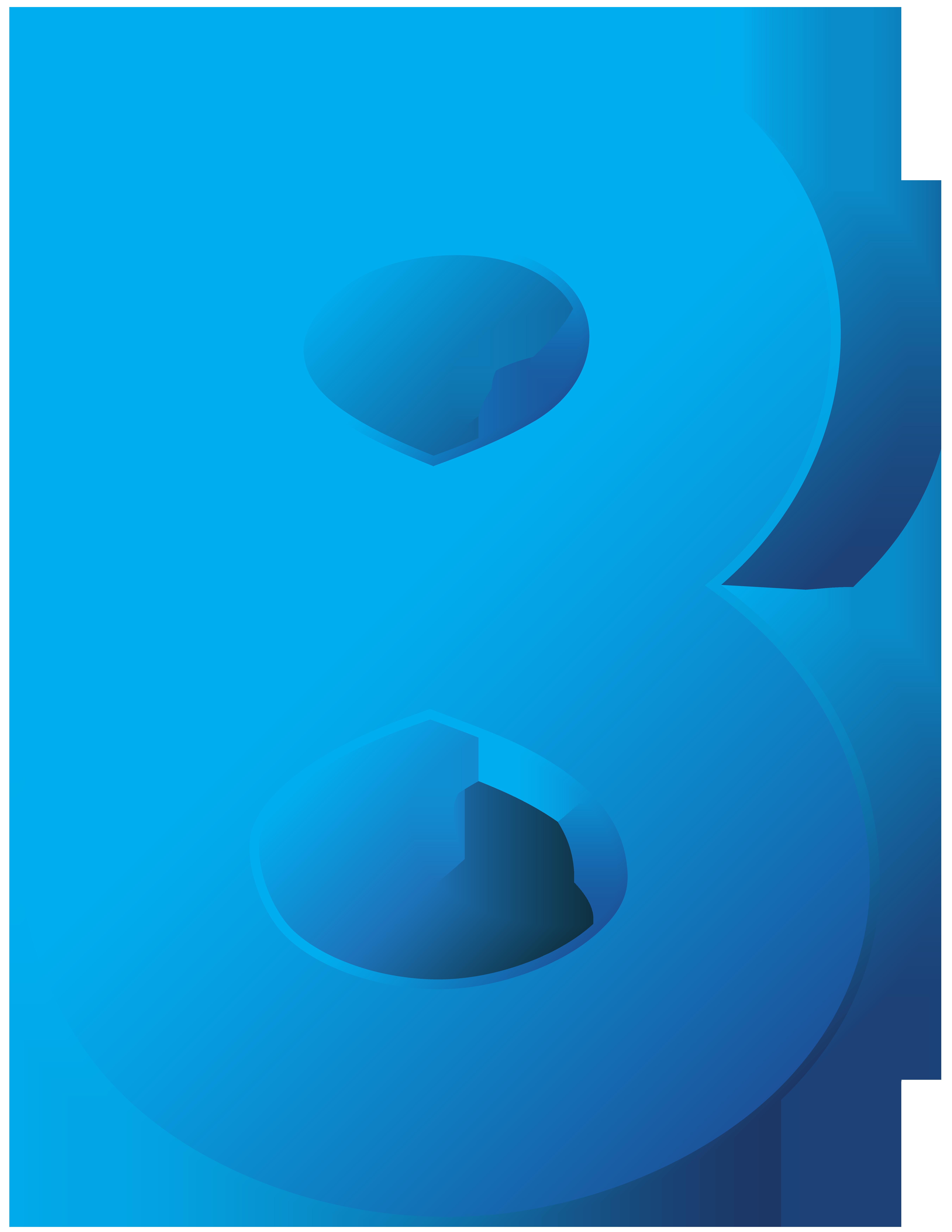 Blue Number Eight Transparent PNG Clip Art Image.