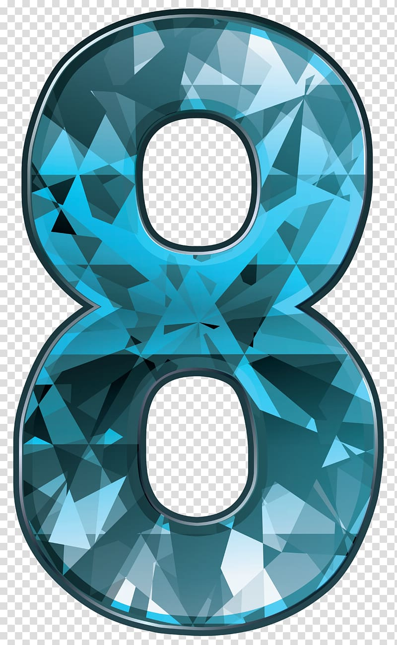Blue number 8 , Circle Pattern, Blue Crystal Number Eight.