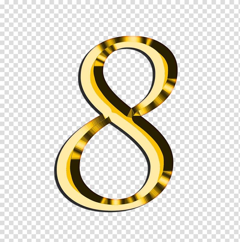 Gold 8 art, Golden Number 8 transparent background PNG.