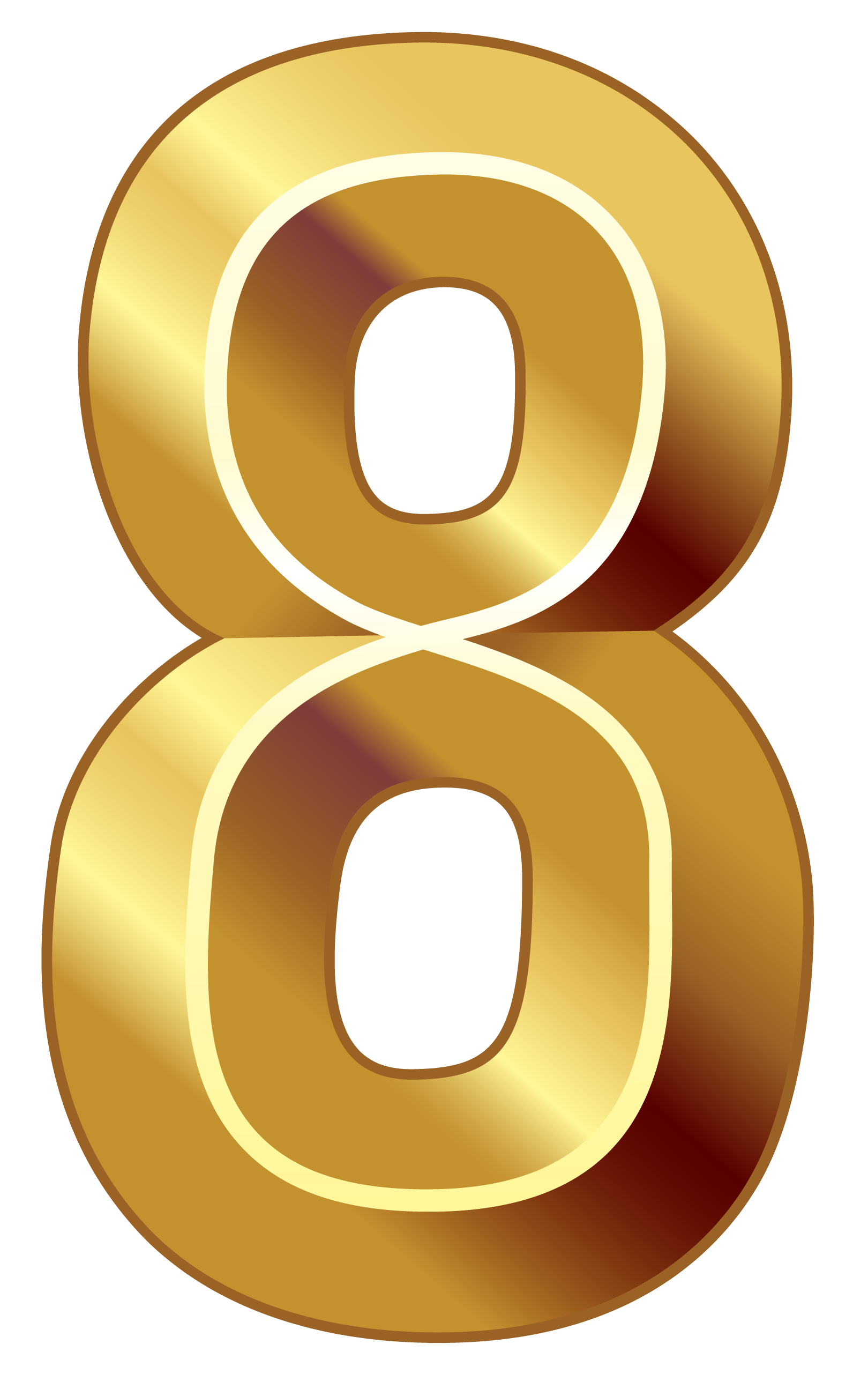 Gold Number Eight PNG Clipart Image.
