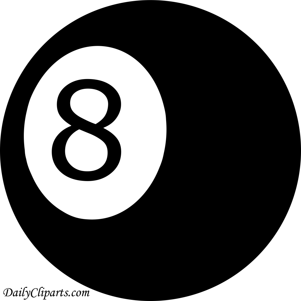 Number 8 Pool Ball Black Color Clipart Icon.