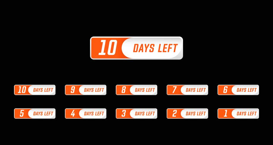 Simple Modern design style number days left countdown set.