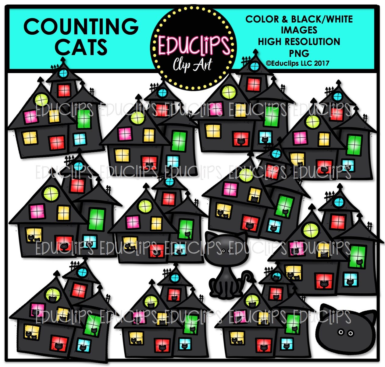 Halloween Counting Clip Art Big Bundle (Color and B&W).