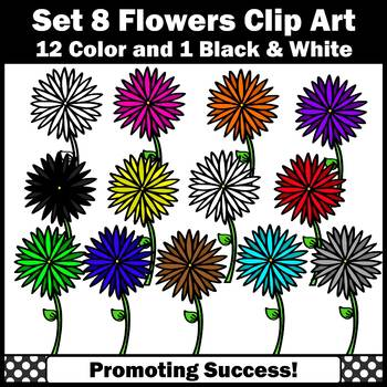 Set 8 Primary Colors Clipart, Flowers Clip Art SPS.