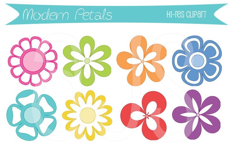 8 Flowers Clipart.