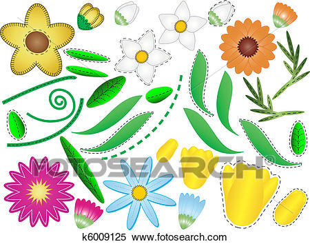 Vector Eps 8 Flowers & Leaves Clipart.