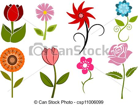 Collection of 8 flowers.