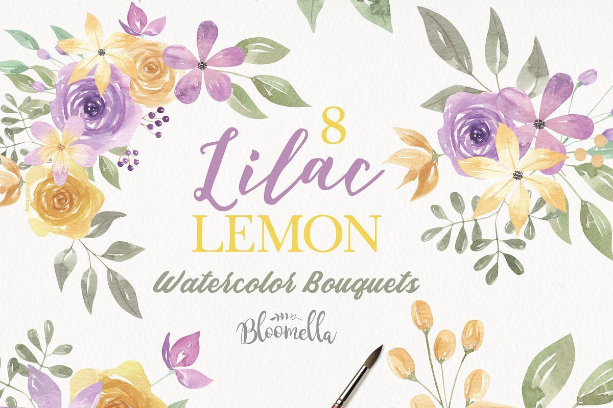 Watercolor Lilac & Lemon 8 Clipart Bouquets Flowers Purple.
