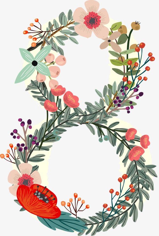 Flowers Number 8, Number Clipart, Digital Flowers, Digital.