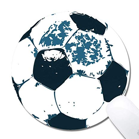 Computer Soccer Round Mouse Pad (7.8x7.8 Inch), Printed Rubber Desk  Accessories Mouse Mat.