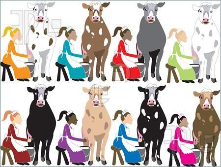 8 maids a milking clip art.