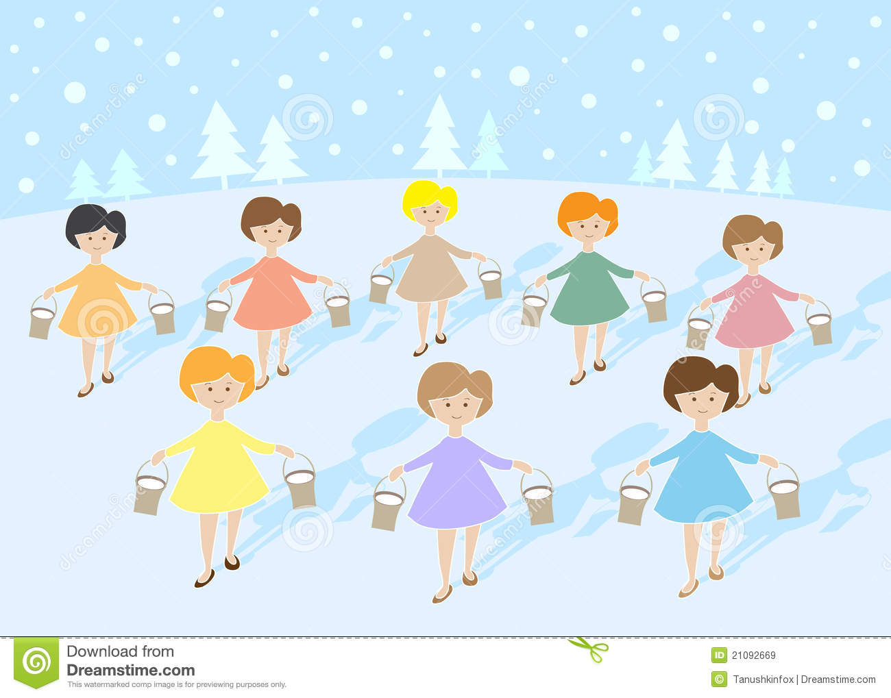 12 Days Of Christmas: 8 Maids A Milking Stock Vector.