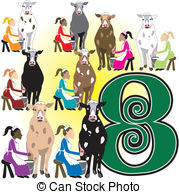 Eight maids a milking Vector Clip Art Royalty Free. 7 Eight maids a.